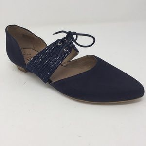 Anthropologie KMB navy Allons oxford cut out flats